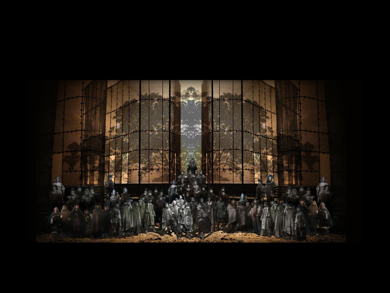 MACBETH<br>  Atto IV scena 4: Dopo l'uccisione di Macbeth, Malcolm e Macduff esultano insieme all'esercito.